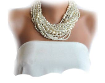 Handmade Chunky Bridal Ivory Necklace