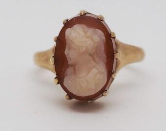 10K Sardonyx Victorian Cameo Ring