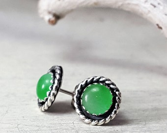 Green Jade Stud Earrings Small Sterling Silver Posts 6mm Stone Silversmith