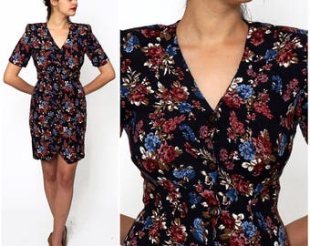 Vintage 80s/90s Ditsy Floral Fitted Button-up Mini Dress by All That Jazz | Medium
