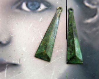 Hand Aged Verdigris Patina Brass Jewelry Supplies Geometric Drops 509VER x2