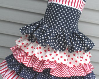 Ready to Ship Custom Boutique Patriotic American Red White Blue Ruffled Dress Girl Will Size Size 7 or 8
