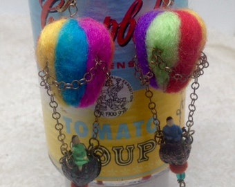 Lilygrace Felted Vintage Hot Air Balloon Earrings with Brass Filigree, Glass Beads and Velvet Beads