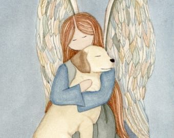 Golden Yellow Lab (labrador retriever) with angel / Lynch signed folk art print