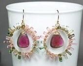 RESERVED ... Watermelon Tourmaline slice earrings, Tourmaline crystal gold chandelier, October Birthstone, 14k gold filled hooks ..