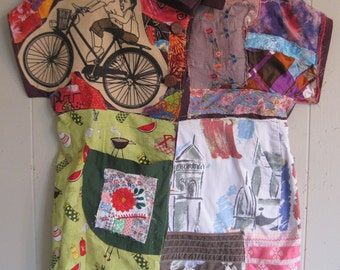 PATCHWORK COLLAGE COUTURE -Random Quilting Scraps - Wearable Folk Art - Fabric Assemblage Clothing -  myBonny