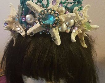 Mermaid crown, Mermaid, Mermaid headband, Ariel, Little Mermaid, Starfish, Starfish crown, MsFormaldehyde, Tiki, Tiki Oasis