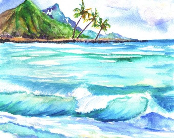 kauai north shore  beach original watercolor painting  hawaiian art  mountain watercolour mauka kauaiartist seascapes ocean waves marionette