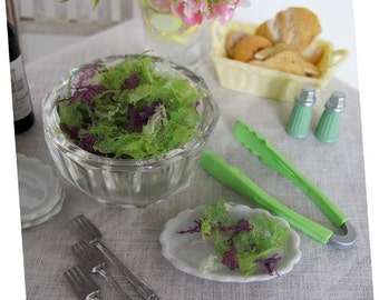 Miniature Salad Mixed LETTUCE Greens in Vintage Glass Bowl with Plastic Tongs  -  1:6 Scale Realistic Faux Food for Fashion Dolls & Figures