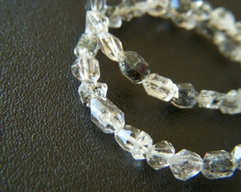 RESERVED - Petite Black Included Herkimer Diamonds - Full Strand - 5 to 8mm - 7.5 Inches