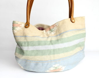 Vintage The Elephant Walk Tote Bag | Woven Kilim Handbag | Pastel Western Woven Cotton Tapestry Shopper