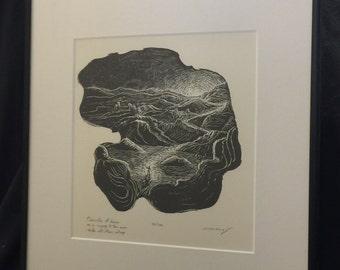 FRAMED Original Wood Engraving Inspirational Haiku Light Life Seeker Surreal Traveler at Dawn