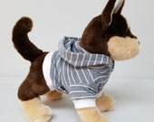 Dog Clothes Grey Striped Hoodie, Chihuahua, Yorkie