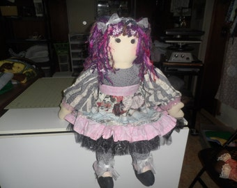 "polly the purple color adder rag doll 36"" ooak handmade doll"
