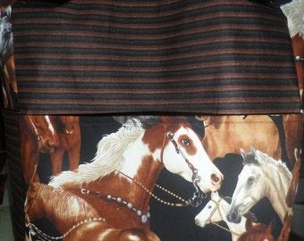 horses cowboys western animals saddles brown large purse/ tote/ diaper bag