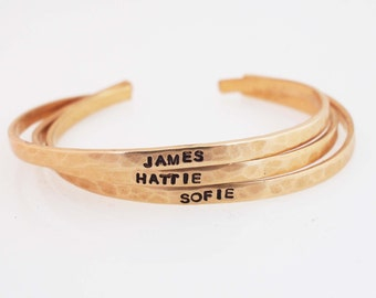 Children's Name Bracelet, Kid's ID Bracelet,Hammered Bronze Cuff,Flower Girl Gift,Child's Cuff,Flower Girl Jewelry