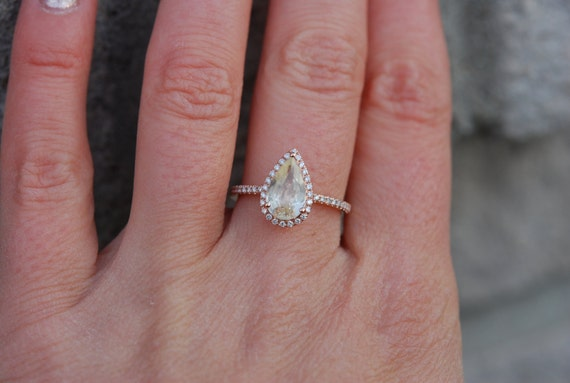 1.75ct Pear cut Yellow champagne sapphire 14k rose gold diamond ring engagement ring by Eidelprecious
