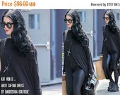 ON SALE Kat Von D wears Babooshka Banded Arch Caftan Midi Maxi Dress - Black on Black - Long Sleeve Minimal Oversized Tunic Katvond look #kv