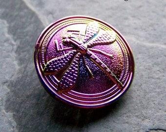 Dragonfly Button, Boho Chic, Czech Glass Button, Purple Iris, Jewelry Supplies, Beading Supplies, Sewing Supplies, 1 Button