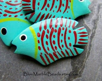 Fish Beads, Wood Beads, Hand Painted Beads, Unique Beads, Colorful Beads, Summer Beads, Beach Beads, Tropical Beads, Natural Beads, 4 Beads