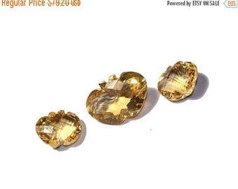 55% OFF SALE 3 Pcs Set AAA Natural Citrine Carved And Faceted Apple Cut Gemstones 9x12 - 11x17mm Match Pair & a Focal Pendant- Trio Ct18