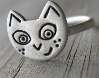 Sneaky Pussy Sterling Ring Rustic Sterling PMC Artisan Jewelry Cat Kitty