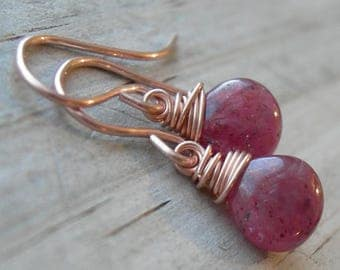 Raspberry Pink Sapphire Rose Gold Fill Wire Wrapped Earrings