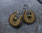 Reserved for Brenda B, matte copper and brass hoops, beaded bead earrings