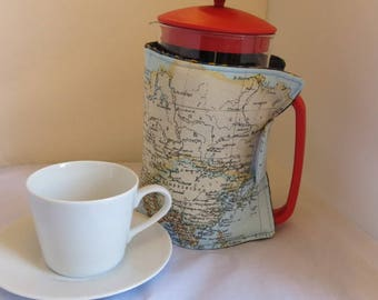 Cafetiere cosy in map print