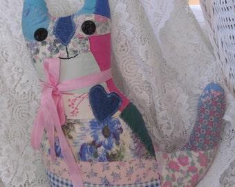 Vintage Quilt Cat Pillow Pinks & Ticking - Shabby Cottage Farmhouse Kitchen