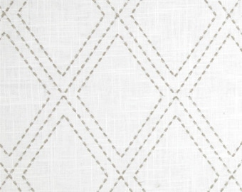 Grey Embroidered Diamonds Drapery Panels - Pair/ 2 Panels - Jaclyn Smith 02615 Embroidered Diamonds Dove Gray Fabric