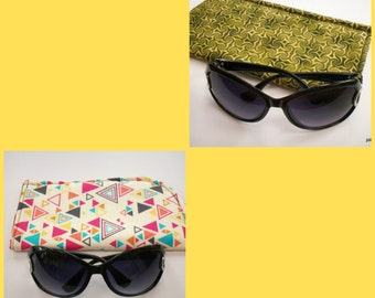 Slide in  Sunglass Case Triangles Wildly Colorful on Cream or Tribal Green Swirls