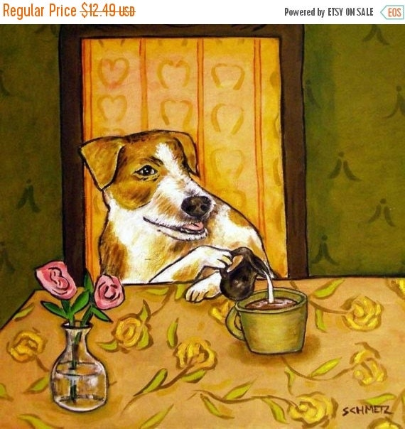 30% off Jack Russell Terrier at the Cafe Dog Art Tile
