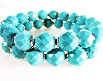 Turquoise Stretch Bracelet Set, Gemstone Stretch, Stacking, Turquoise Bracelet