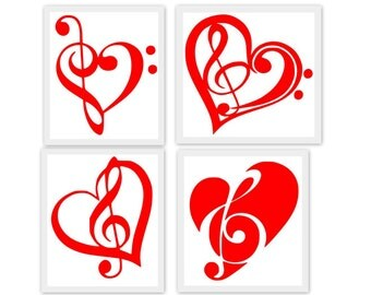 Valentine Music Hearts SVG, Studio3, PDF, PNG, Jpg File, Dxf, Eps  - Custom Designs & Wording Welcome
