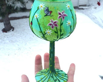 Stargazers, Daisies and a Robin Sculpted with Polymer Clay onto a Recycled Glass Cadle Holder in Lime and Turquoise