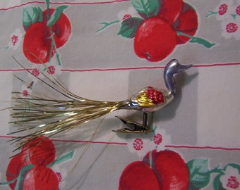 vintage mercury glass bird clip on