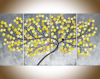 "Yellow gray large wall art painting on canvas swirl leaves tree love birds Original artwork canvas art ""Missing you already"" by qiqigallery"
