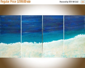 Abstract Art blue art Abstract Beach painting turquoise blue white cream shabby chic wall art ocean art wall decor canvas art by qiqigallery