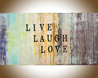 Large abstract painting wall art Live laugh love quotes on canvas Original artwork home decor wall Decor shabby chic by qiqigallery