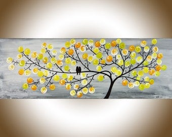 """Yellow grey painting Contemporary wall art large Modern art impasto canvas art original artwork wall decor """"Spring Love"""" by QiQigallery"""