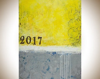 "Yellow grey modern abstract art Original oil painting home decor wall decor wall hanging "" sunshine 2017"" by qiqigallery"