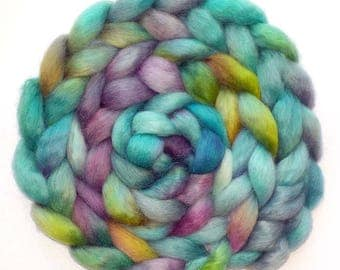 Wensleydale Combed Top Handdyed Roving - Beautiful Swimmer, 6.1 oz.