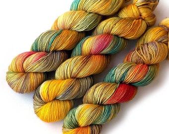 Hand Dyed Yarn Vera Fingering Single Ply Yarn - Zinnias, 500 yards