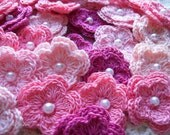Crochet Double Layered Flowers set of 25 Its A Girl Theme of colors
