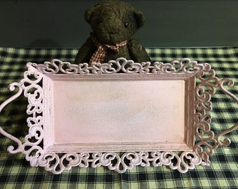 Antique Pink Tin Metal Scroll Tray