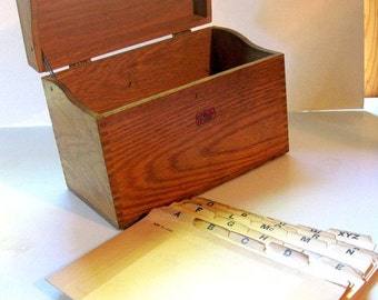 HOLIDAY SALE - Gorgeous Vintage Large Weis Wood Index Card File Box, Hinged with Original Index Cards