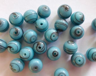 Vintage Japanese Light Blue with Black Swirls 7mm Pressed Glass Smooth Round Beads (25)