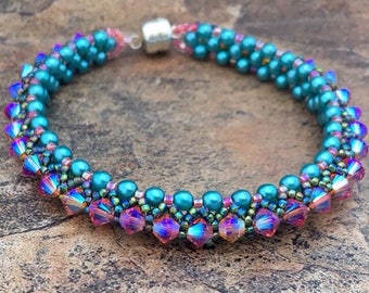 Swarovski Crystal Tennis Bracelet in Turquoise and Fire Opal