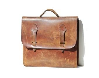 Vintage Distressed Brown leather Large Briefcase Bag